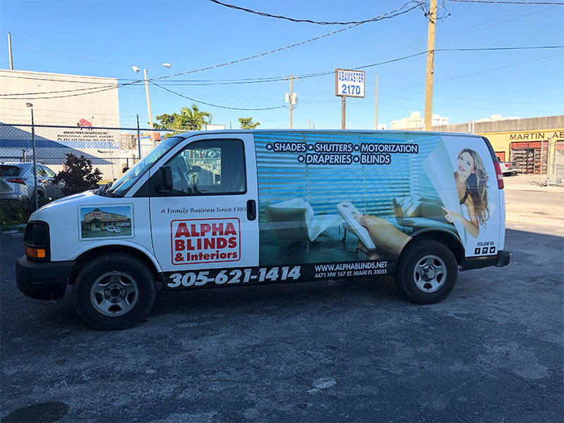 Alpha Blinds & Interiors Van Full Wrap, miami vehicle graphics, miami car wrap, Arlon, Reflective Vinyl