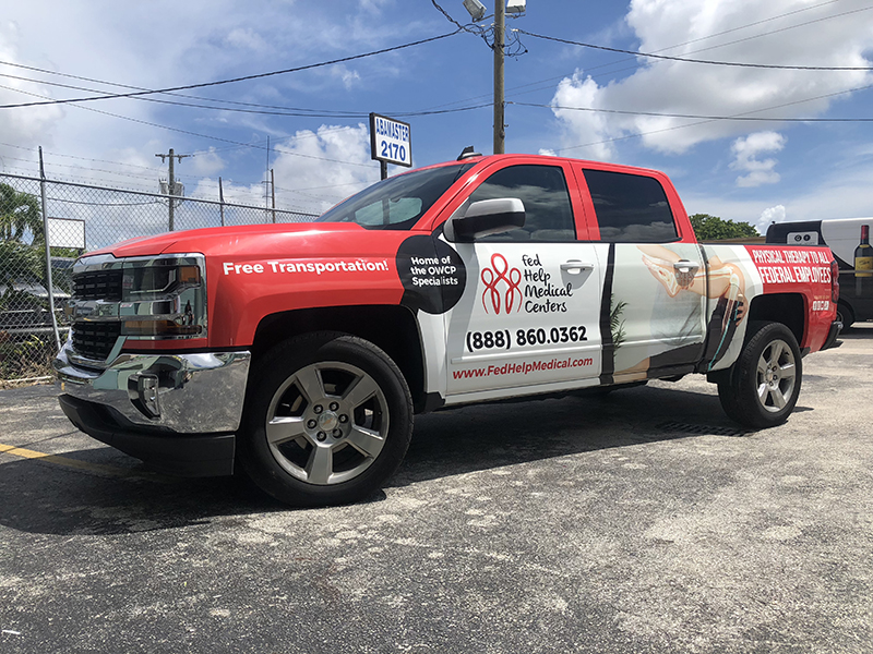 Truck Graphics & Van Lettering, SUV's Full Wrap, See Through Rear Window Wraps, Fed Help Medical Centers Pick up full Wrap