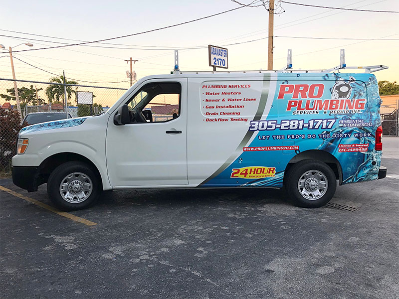 Miami car wrapping, Plumbing Van Full Wrap, Van Graphics, Van Wraps Miami